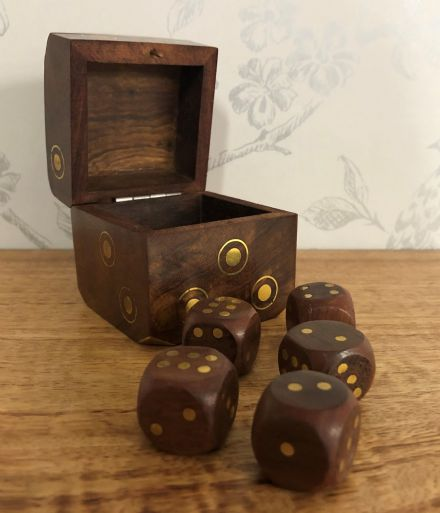 Sheesham Rosewood Handcrafted Dice Box with Brass Corners
